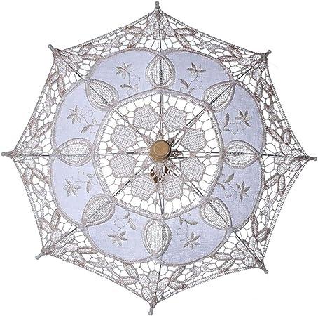 Srbosheng Interesante algodón casero,señora,sombrilla Solar,sombrilla de Boda de la Novia.(None M Milk White 43 / Diameter 45 cm): Amazon.es: Hogar