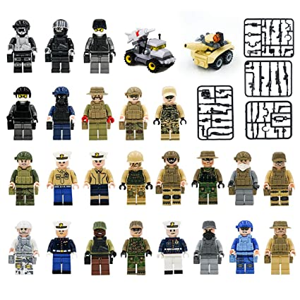Maykid Minifigures Set of 24 Army Minifigures SWAT Team with Military Weapons Accessories Policeman Soldier Minifigures for Party Favors, Gifts