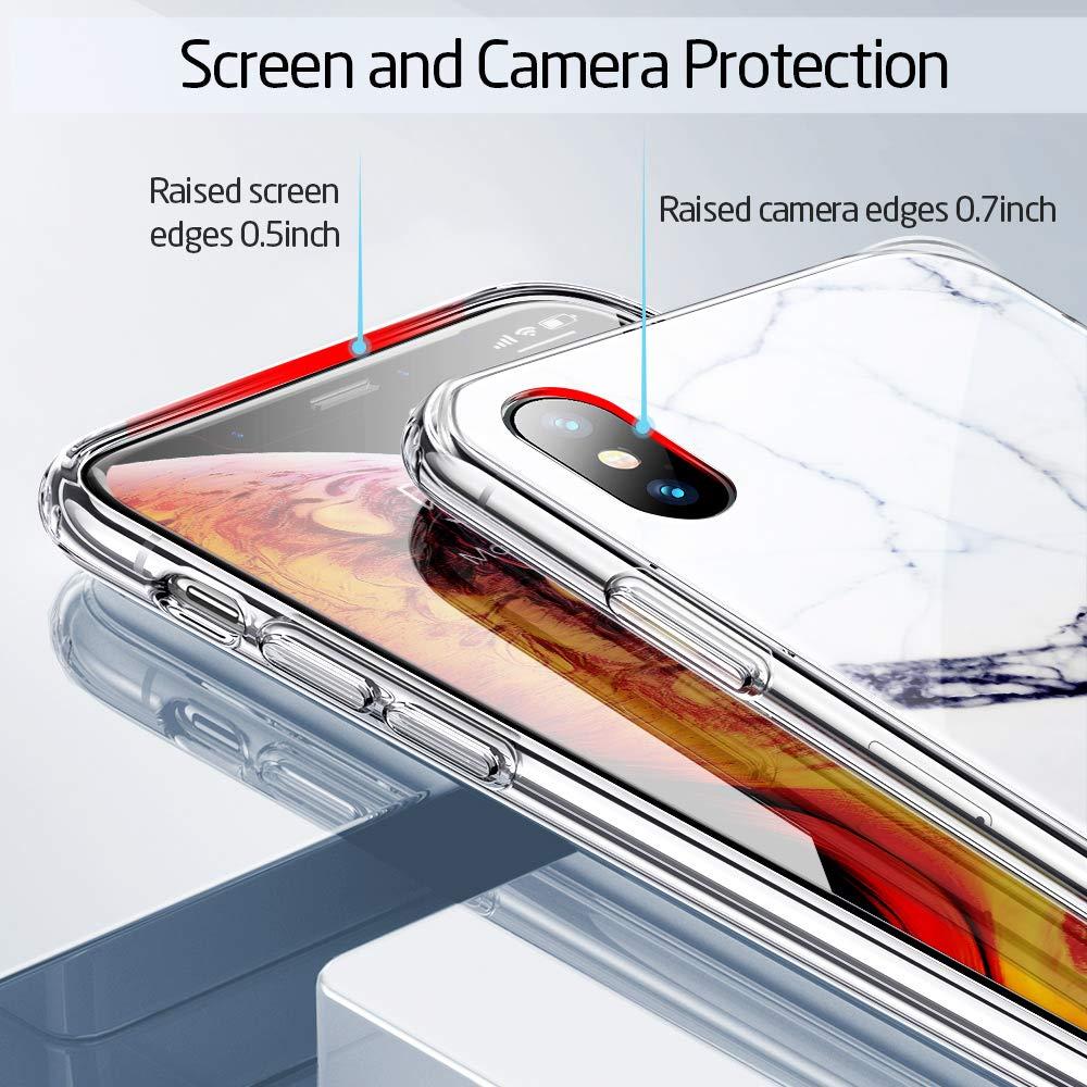 Resistente a los Ara/ñazos + Borde de Silicona Suave para Apple iPhone XS MAX -Transparente Imita la Parte Posterior del Vidrio del iPhone XS MAX ESR Funda para iPhone XS MAX Cristal Templado