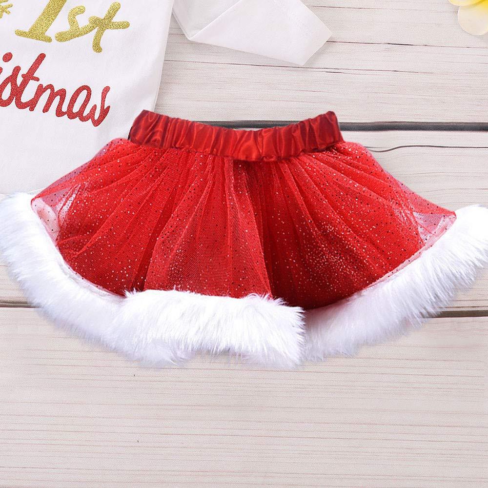 BBSMLIN Ropa de Conjunto Navidad Bebe Ni/ña my 1st Christmas Monos de Manga Larga Tutu Falda con Felpa