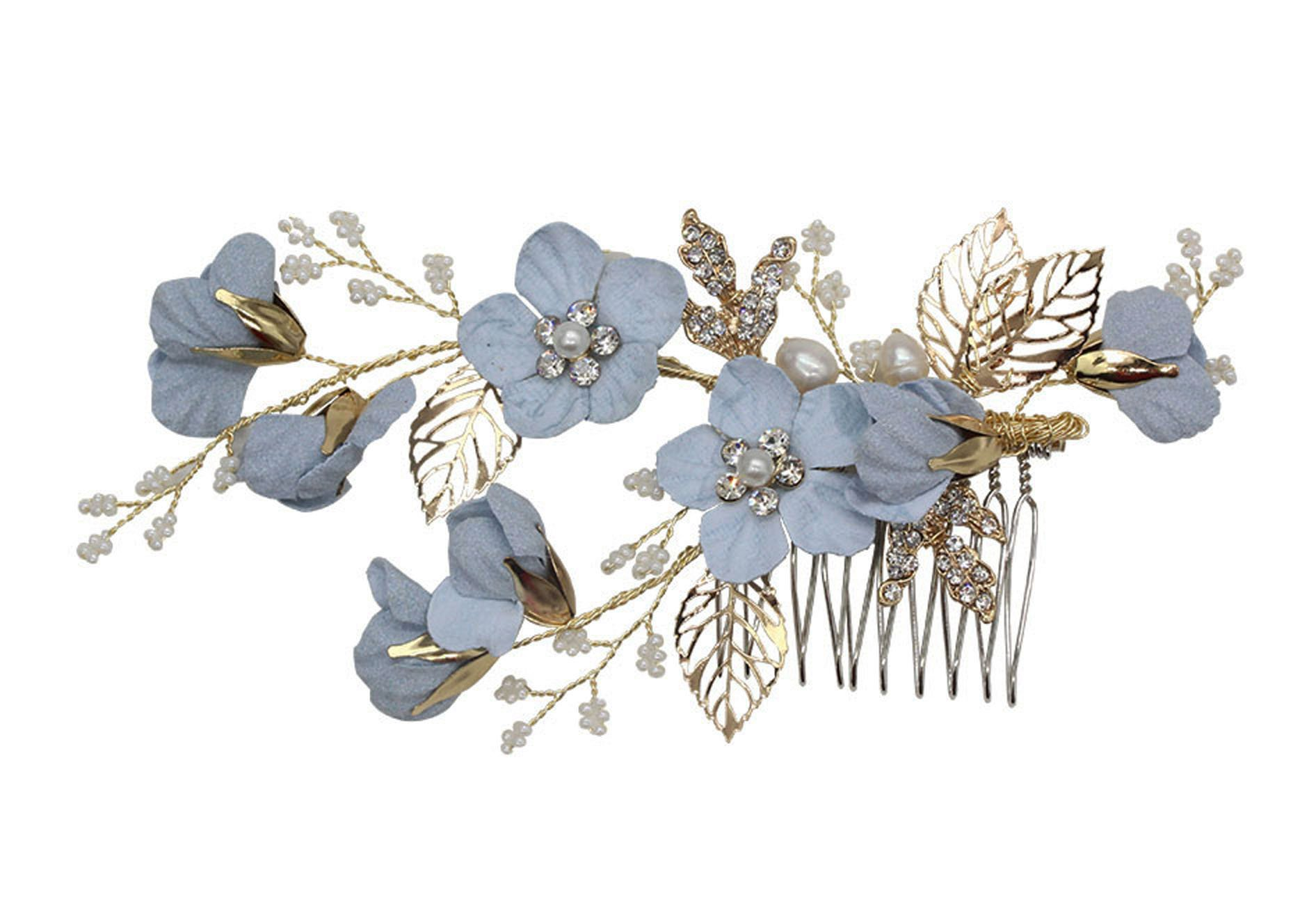 Vintage Blue Flower Crystal Pearl Side Combs Bridal Headpiece Wedding Hair Accessories (A)