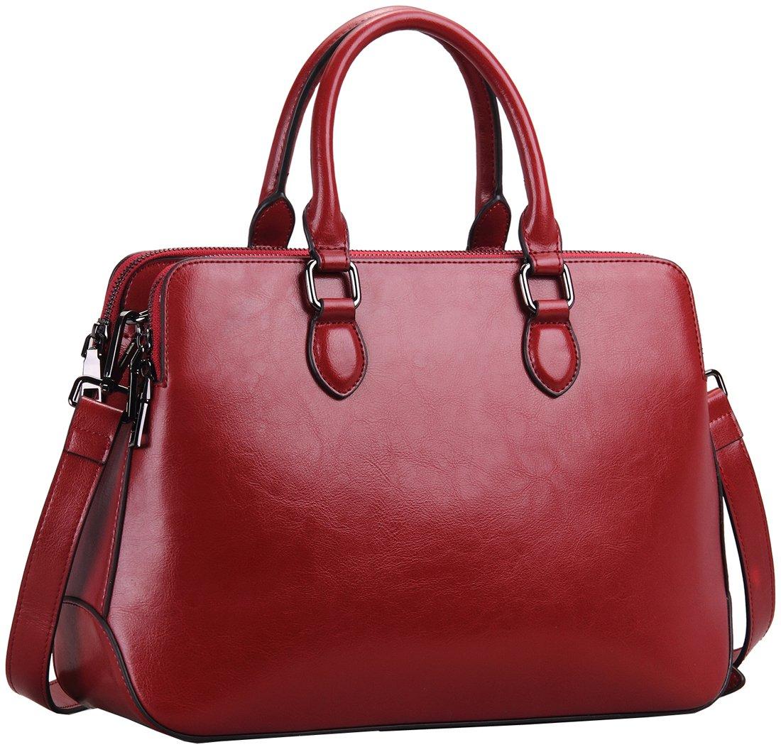 Heshe Leather Womens Handbags Totes Top Handle Shoulder Bag Satchel Ladies Purses (Wine-r)