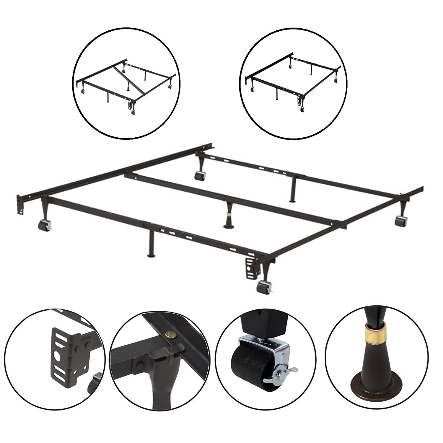 kings brand furniture 7 leg adjustable metal bed frame with center support rug rollers and locking wheels for queenfullfull