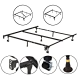 Amazon Price History for:Kings Brand Furniture 7-Leg Adjustable Metal Bed Frame with Center Support Rug Rollers and Locking Wheels for Queen/Full/Full XL/Twin/Twin XL Beds