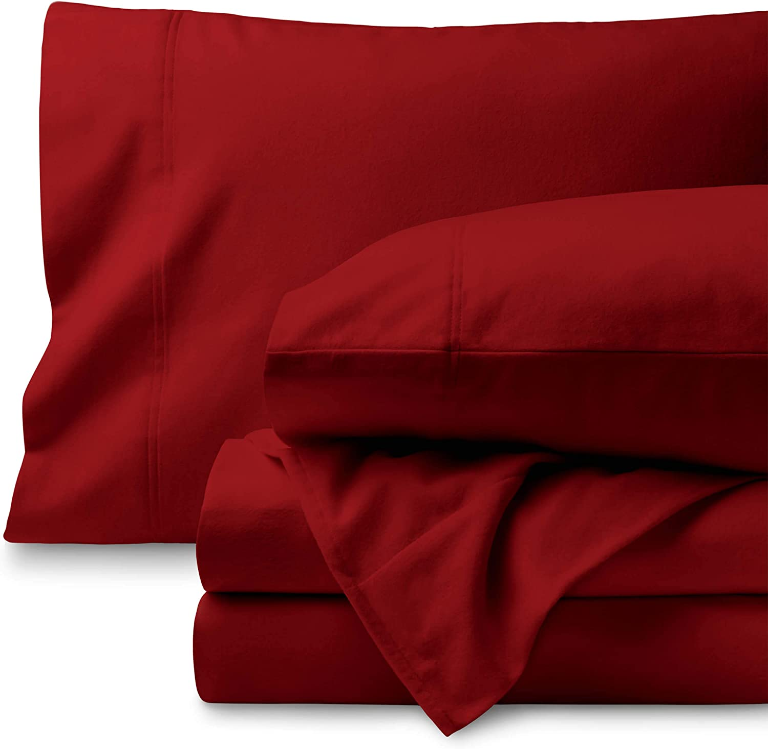 Bare Home Flannel Sheet Set 100% Cotton, Velvety Soft Heavyweight - Double Brushed Flannel - Deep Pocket (Queen, Red)
