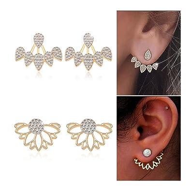 Gleamart Hollow Lotus Flower Earrings Water Drop Ear Jacket Chic