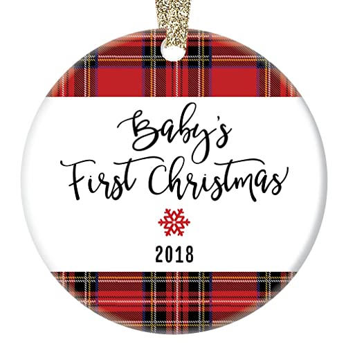 Amazon.com: Plaid Baby's First Christmas Ornament 2018, New Baby Boy ...
