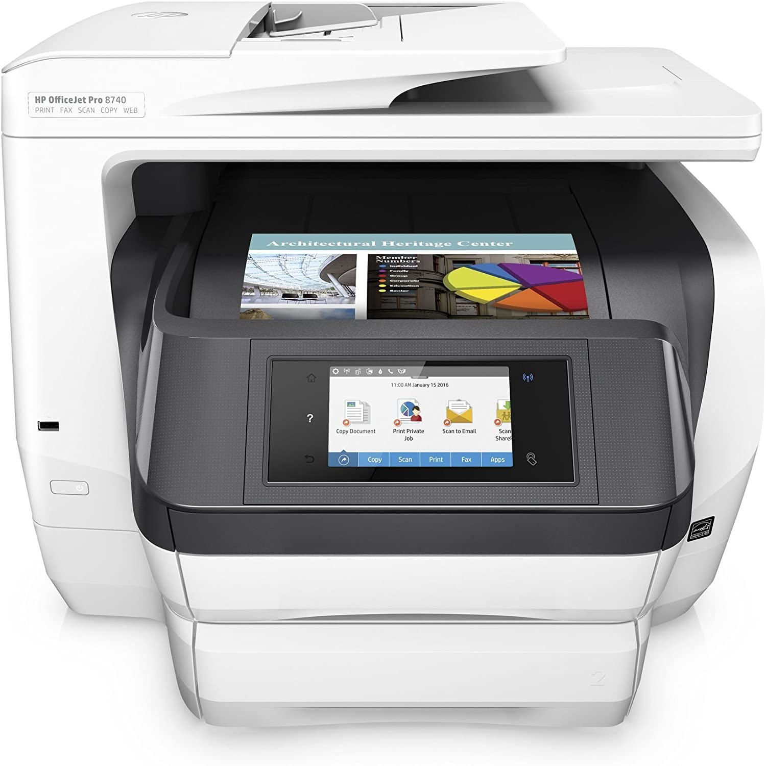 HP OfficeJet Pro 8740 All-in-One Wireless Printer with Mobile Printing, HP Instant Ink & Amazon Dash Replenishment ready (K7S42A) (Renewed)