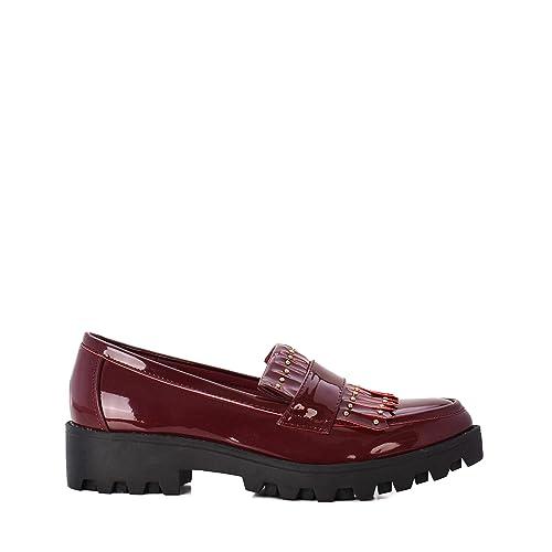 Rebajas Zapatos de Mujer Estilo Mocasines en Color Burdeos.