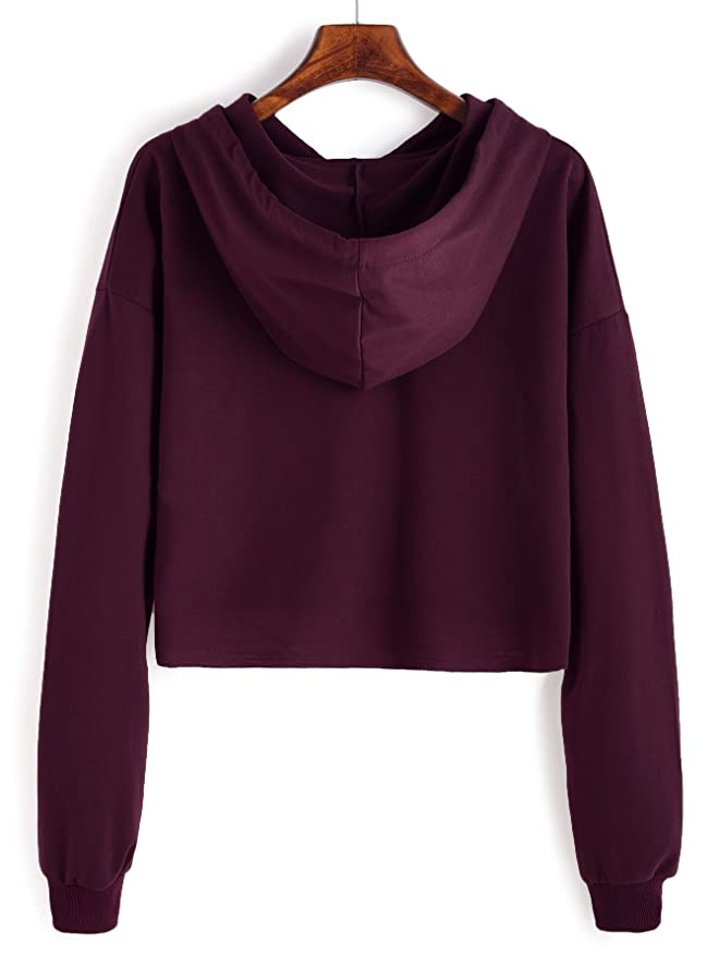 f9a6fc065800f ROMWE Sweat à Capuche Femme Sportwear Manches Longues avec Poche Shirt