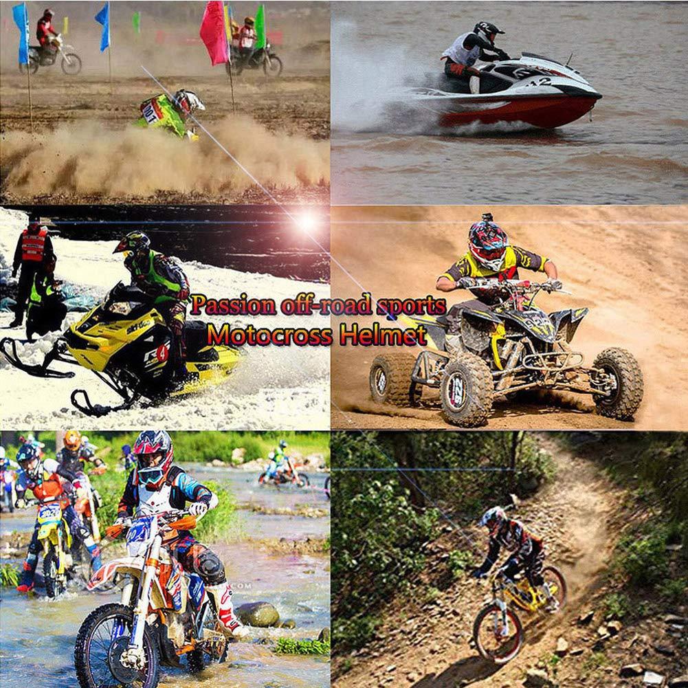 LEENP Adulte Casque de Motocross Set avec Lunettes//Gants//Masque//Cadenas Casque de Cross Downhill Enduro Sports de Moto Casque VTT Quad VTT Off-Road Casque de Moto pour Hommes Femmes Jaune Noir