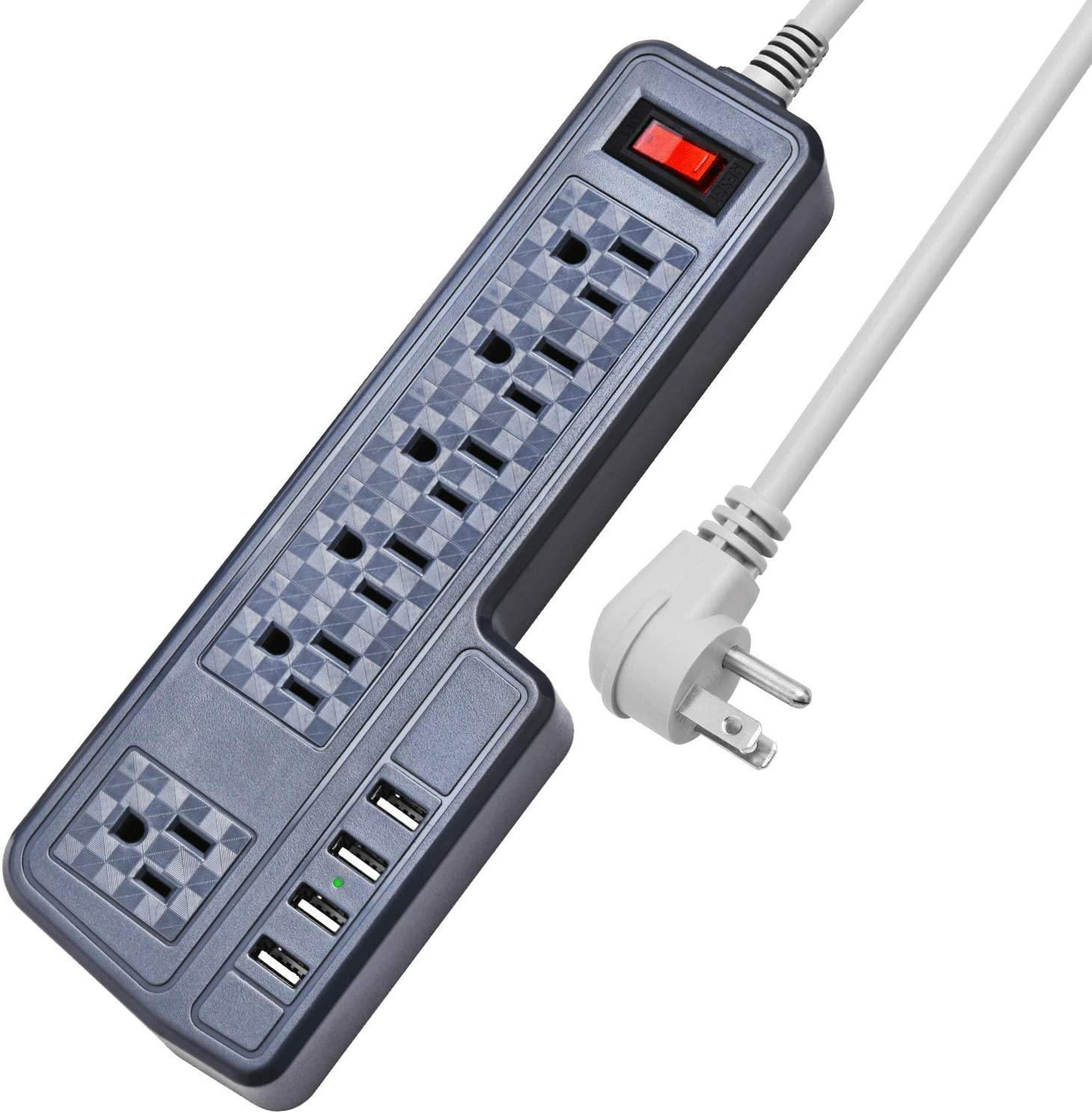 Mountable Surge Protector Power Strip JACKYLED 9.8ft 6 Outlets 4 USB Ports Electric Power Outlet with Right Angle Flat Plug Electric Long Extension Cord Power Charging Station for Home Office Gray