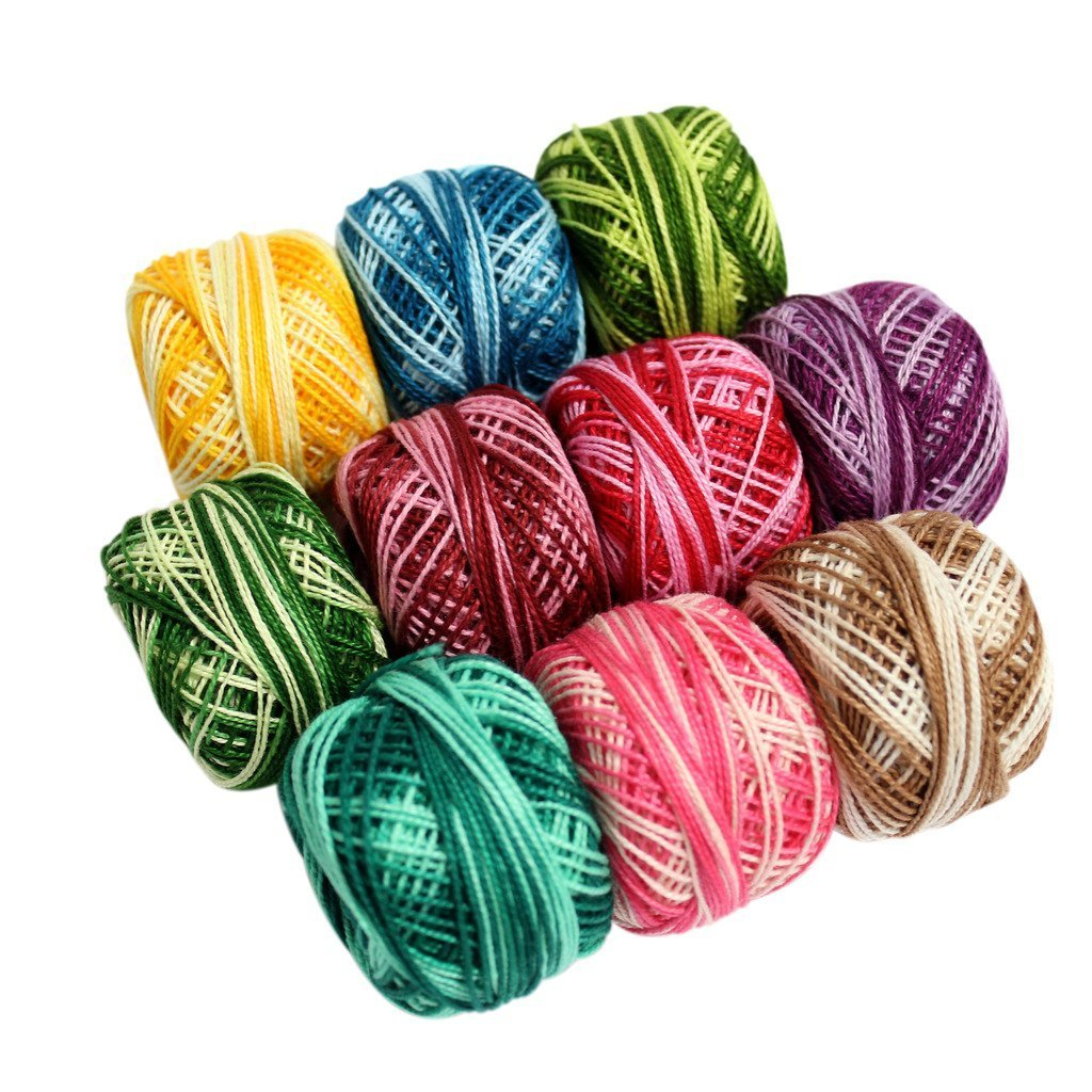 10 Pcs of Colourful Stripey Crochet Cotton Thread Reels- 950 Metres- Crafts Knitting Lacing,Croceht,Crocia,Brilliant Colurs ,Ideal For Making Crochet Dolls, Artistry,Weaving,Box Pack
