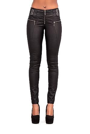 29ddd252d84 Glook Womens Leather Look Skinny Black Trousers Leggings Slim Fit Jeans