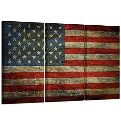 e415408a0da Kreative Arts - 3 Panel Retro America Flag Canvas Wall Art Honored Nation  Symbol Picture Framed