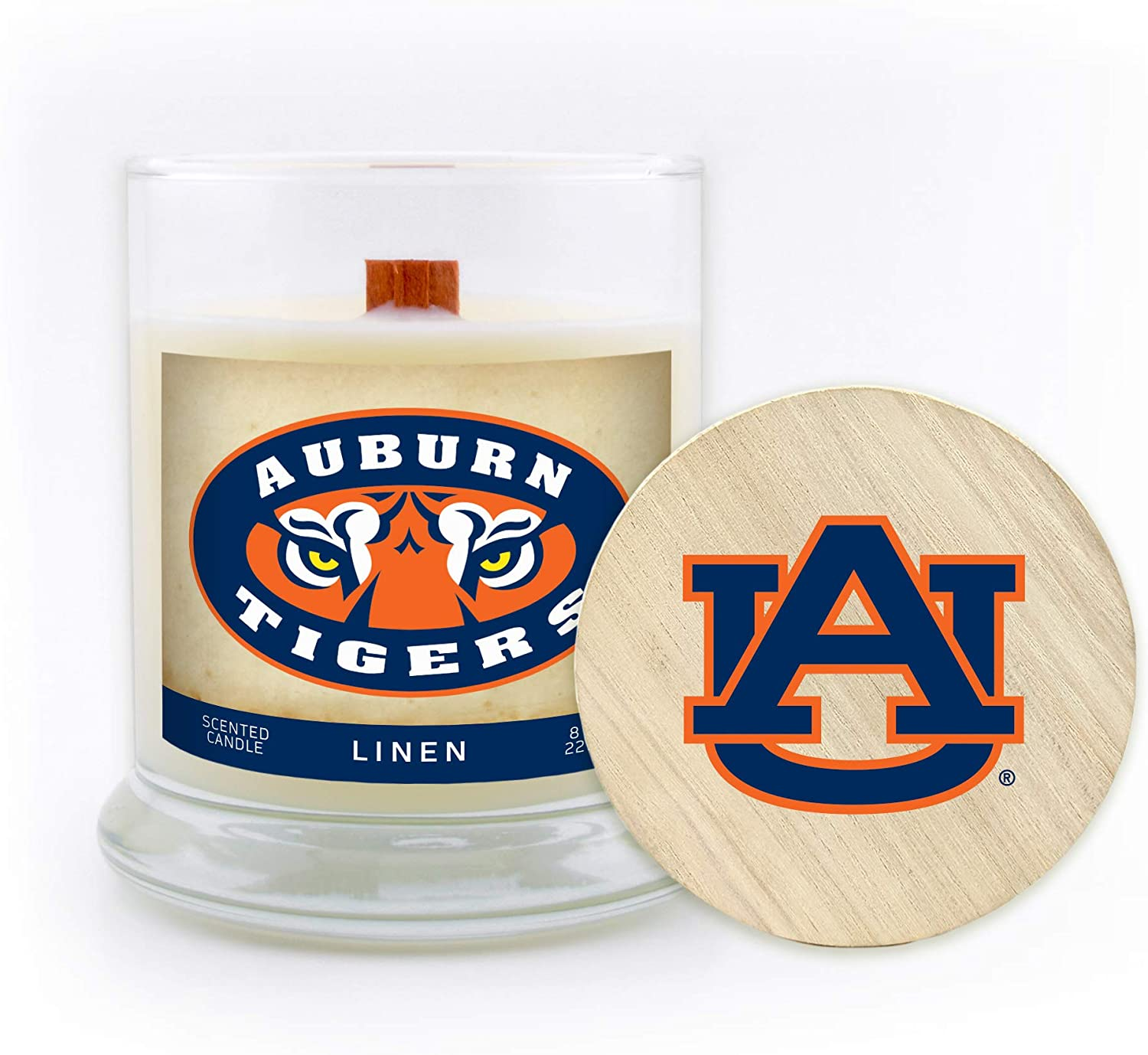 Wood Wick and Lid Worthy Promo NCAA Auburn Tigers 8 oz Linen Scented Soy Wax Candle