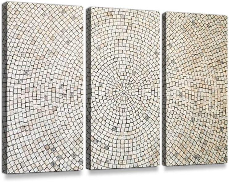 LIS HOME Lienzo con diseño de Azulejos Blancos Circulares sobre Lienzo, para decoración del hogar, diseño único estirado y Enmarcado, 3 Piezas, A01, 20x40inchx3Panel: Amazon.es: Hogar