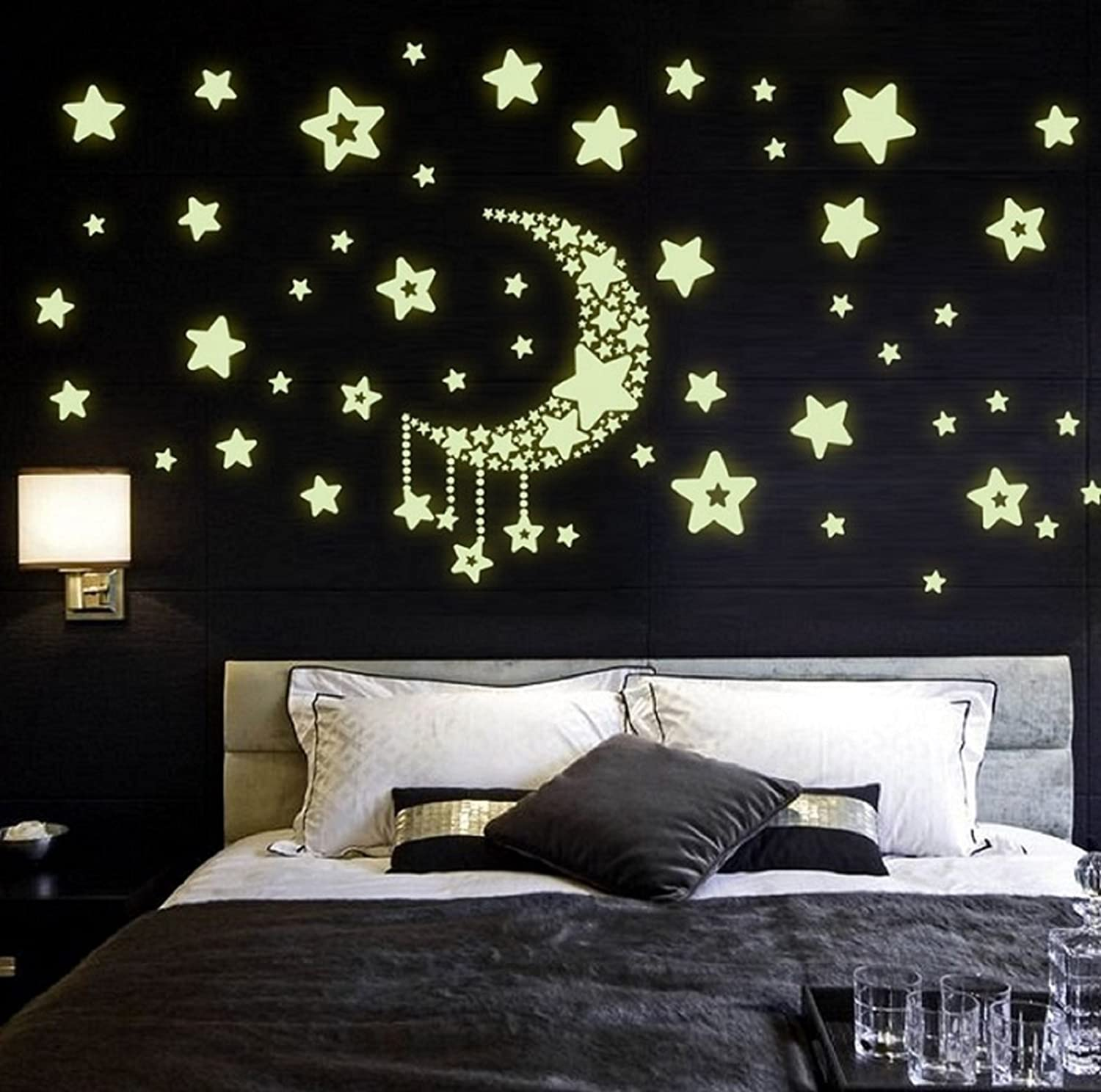 Buy Jaamso Royals U0027Moon And Stars Glow In The Darku0027 Wall Sticker (Vinyl, 32  Cm X 24 Cm X 0.5 Cm) Online At Low Prices In India   Amazon.in