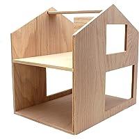 Puppenvilla Puppenhaus aus Holz Natur, Haus18, Moderne 2-stöckige Puppenstube (2 Etagen), fertig aufgebaut, Größe: 40x40x30cm, mit Tragegriff