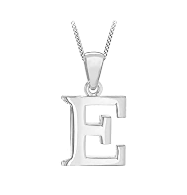 Tuscany silver sterling silver initial e pendant on curb chain of aloadofball Choice Image