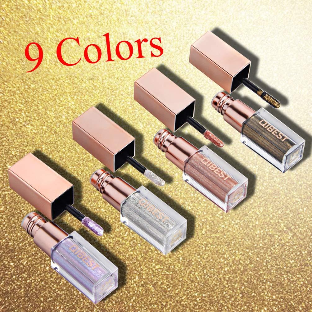 Diamond Glow Liquid Eye Shadow, QIBEST Metals Glitter Shimmer Eyeliners Long Lasting Waterproof Sparkling Eye Shadow Set (9 Colors)