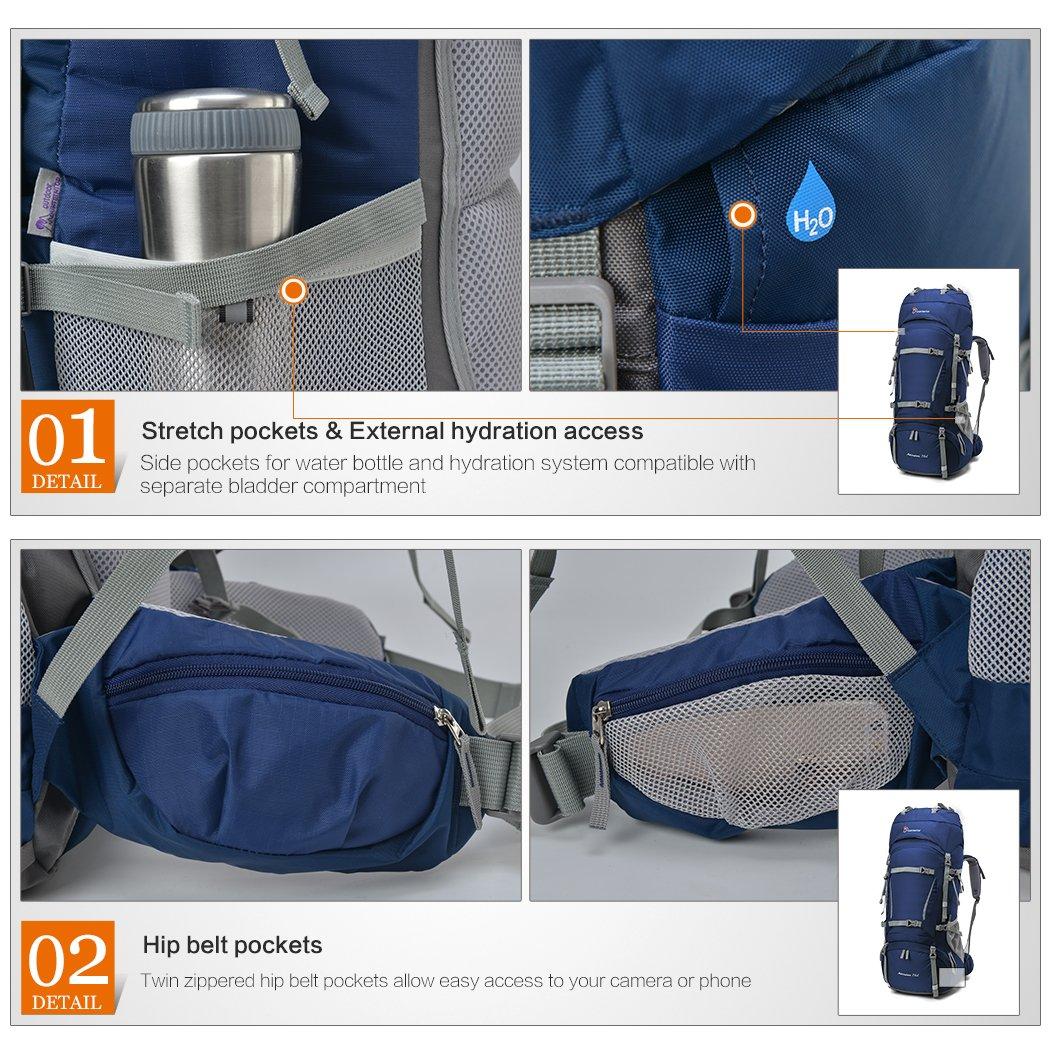 MOUNTAINTOP 70L+10L Trekking rucksacks//Hiking Backpacks,85 x 35 x 30 cm