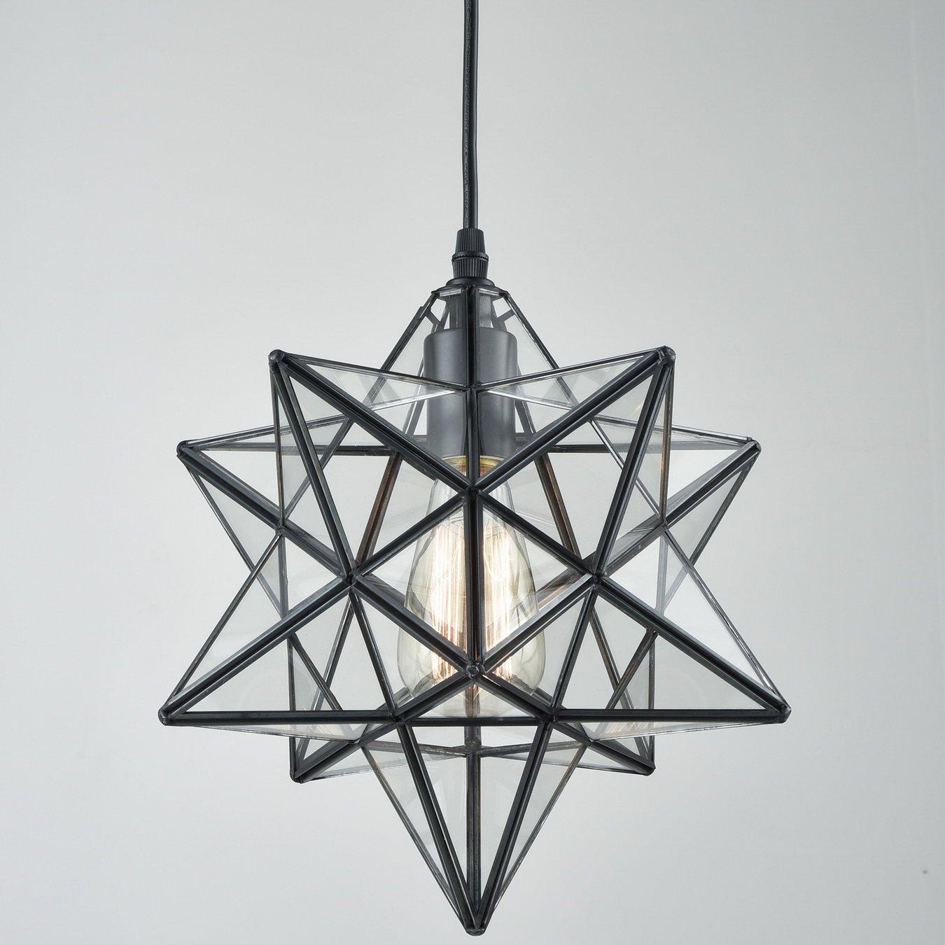 yobo lighting transparent glass moravian star pendant chandelier 12 inch 735980997391 ebay. Black Bedroom Furniture Sets. Home Design Ideas