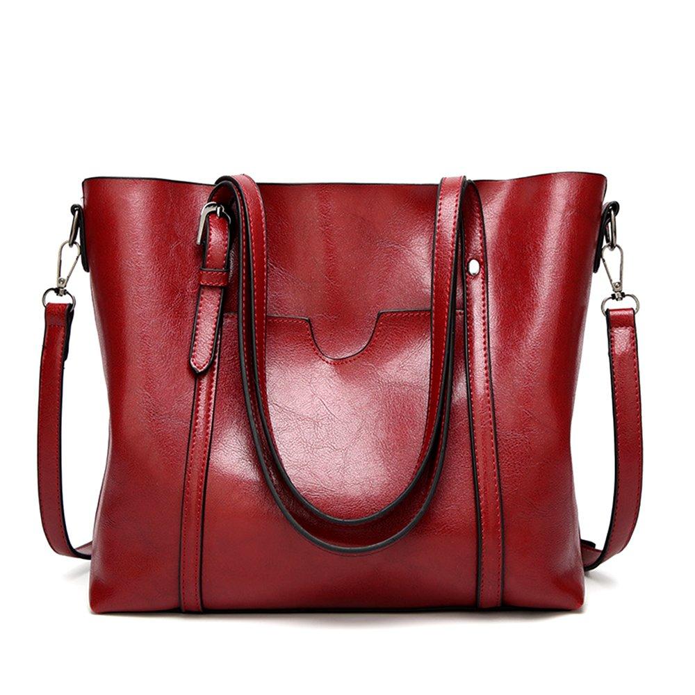 Mynos Women Retro Top Handle Satchel Handbags Shoulder Bag Occident Style Tote Purse (Wine red)