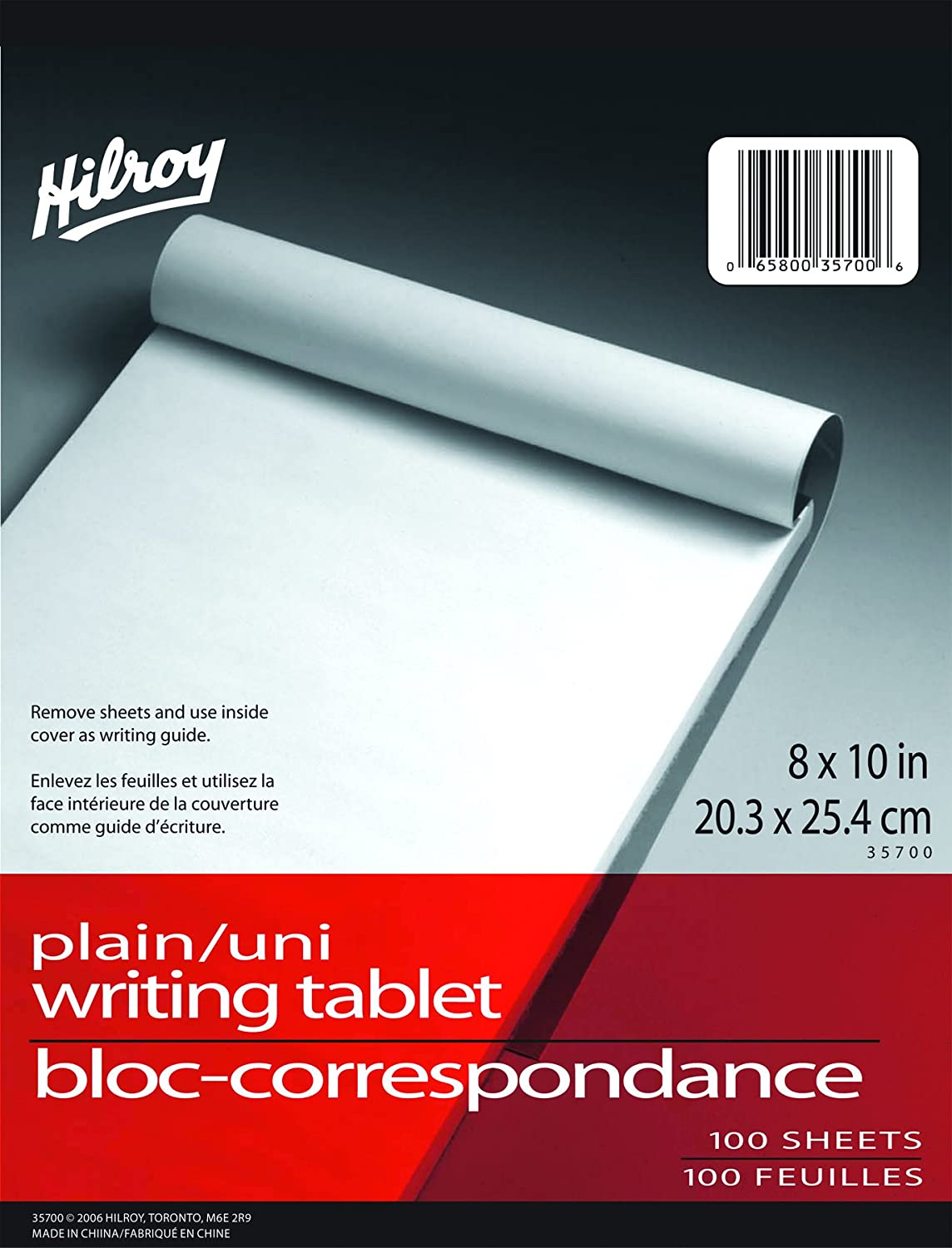 Hilroy 35700 Social Stationary Writing Tablet, 8x10-Inch, 50 Sheets, Plain White Paper