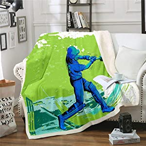 Erosebridal Baseball Throw Blanket Gamers Sherpa Blanket Cricket Flannel Blanket Green Tie Dye Sherpa Blanket Sports Gaming Player Bed Blanket for Kids Girls Boys Men Child's Dorm Room Decor Baby