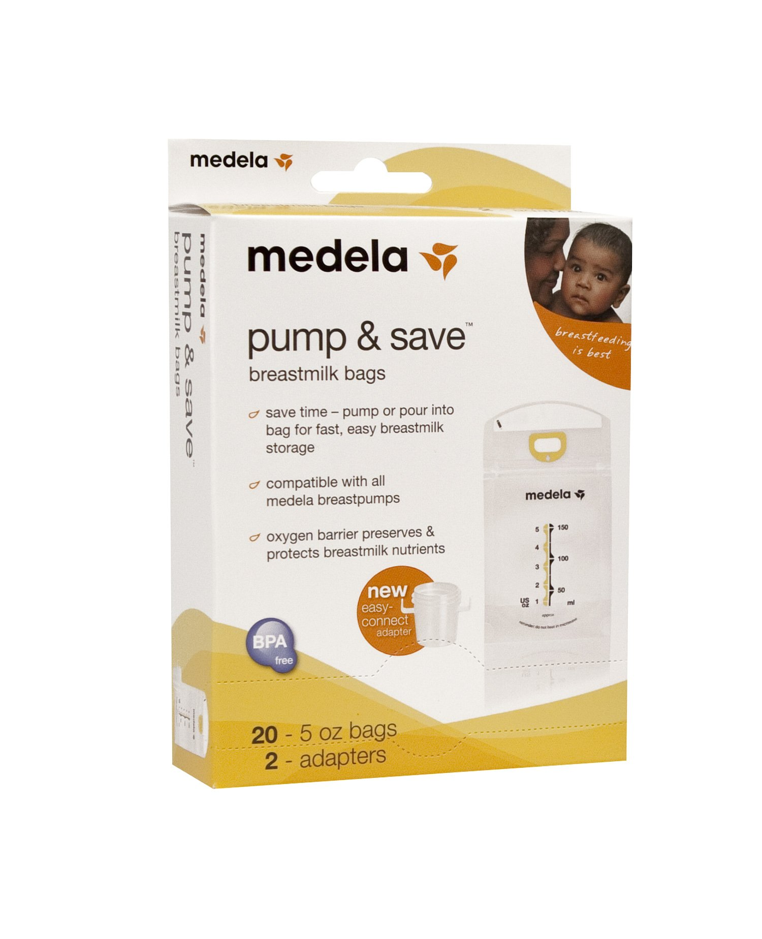 Medela Breast Milk Storage Bags, Pump and Save Breastmilk Bags with Easy Connect Adapters, Pack of 20