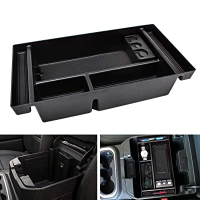 SENSHINE Center Console Organizer Tray for 2020 Chevy Silverado 1500/GMC Sierra 1500 and 2020 Chevy Silverado/GMC Sierra 1500/2500/3500 HD Armrest Storage Secondary Box - Full Center Console Models: Automotive