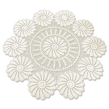 tidetex Pure algodón hecho a mano Crochet redonda mantel funda para mesa Hollow fuera Encaje Pastoral