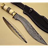 "BTB-497,""15 Inches"", Handmade Damascus Steel Kukri Knife with Bone Handle with Brass Rings"