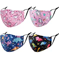 4PCS Kids Fabric Cover, Fashion Cotton Reusable Washable Toddler Adjustable Mask. Gifts for Kids