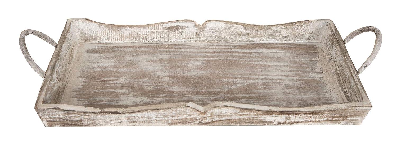 Biscottini Set di 2 VASSOI in Legno Finitura Bianco Anticato L51+48XPR9+9XH28+24 cm