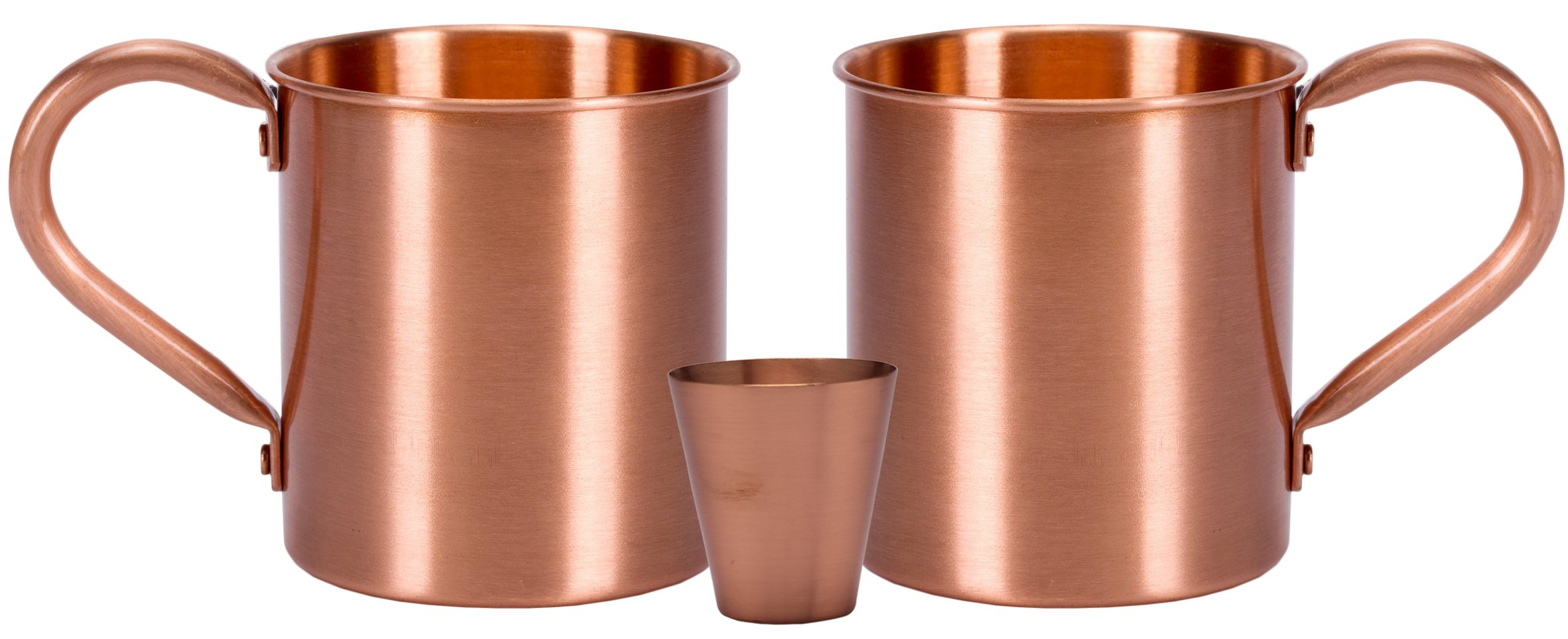 Melange 20 Oz Copper Classic Mug for Moscow Mules, Set of 2 with One Shot Glass - Heavy Gauge - No Lining - Includes Free Recipe Card