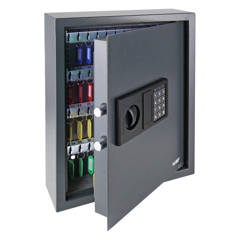 HMF 2030-11 - Cassaforte portachiavi con serratura elettronica e 30 ganci, 30 x 28 x 10 cm, colore: Antracite
