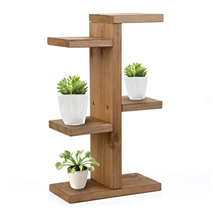 Skyoo Mini Small Wooden Ladder Shelf 3 Tier Solid Wood Flower Stand