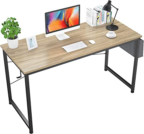 Foxemart 55″ Computer Desk Modern Sturdy Office Desk 55 Inch Writing Study Desk Simple PC Laptop Notebook Table