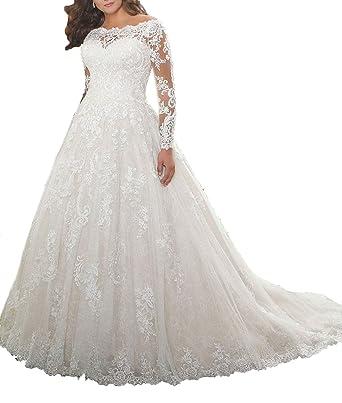 0c2c6af05121 Jerald Norton Ltd Women's Off Shoulder Floral Lace Applique Wedding Dress  Long Sleeve Bridal Gown Ivory