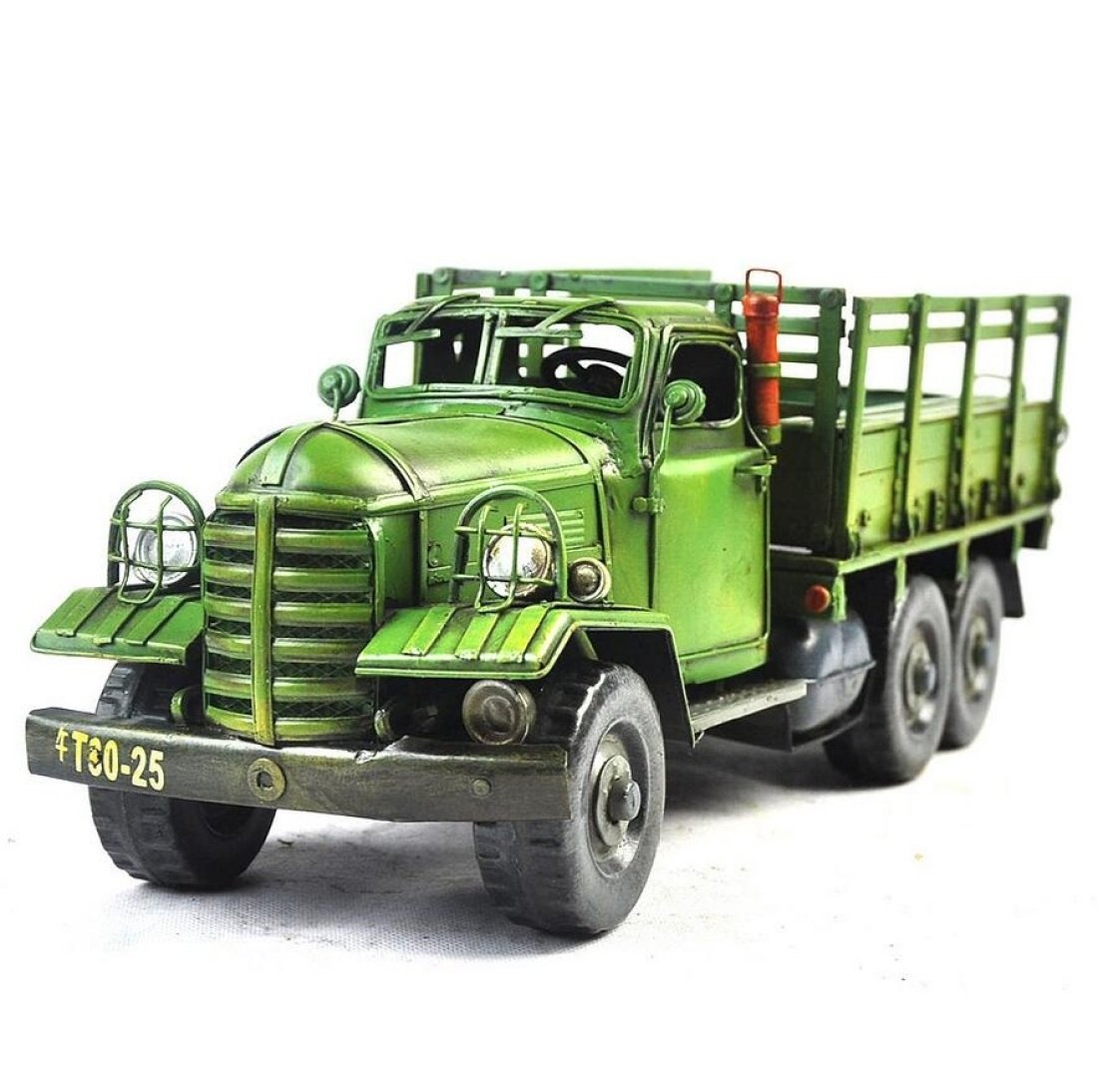 GL&G Retro manual Sheet metal car model Old-fashioned Six wheels Heavy truck bar Cafe decoration Tabletop Scenes Collectible Vehicles Ornaments Keepsakes,411314cm by GAOLIGUO