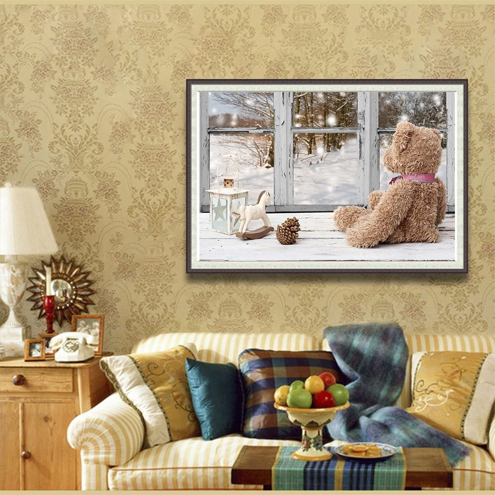 Wall stickers for living room decoration.Bear Fipart DIY diamond painting cross stitch craft kit 12X16inch//30X40CM