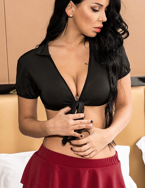 Avidlove Women Short Sleeve Bolero Cardigan Crop Top Tie up Shrug Cosplay Shirt