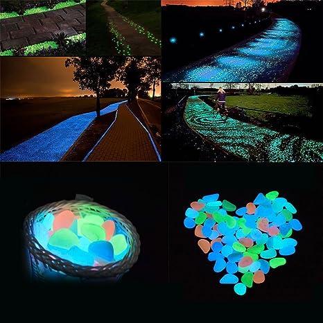 aimdonr 100 piezas brilla en la oscuridad pledger piedras de noche Glowing luminoso Acuario Piedra para