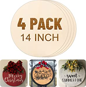 4Pack 14 inch Wood Circles for Crafts Door Hanger Unfinished Round Wooden Circles Wood Discs for Painting Christmas Halloween Door Sign Decor