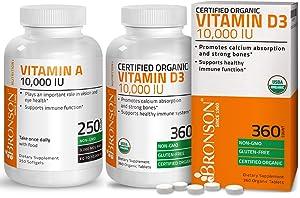 High Potency Vitamin D3 10,000 IU Certified Organic Vitamin D Supplement + Vitamin A 10,000 IU Premium Non-GMO Formula