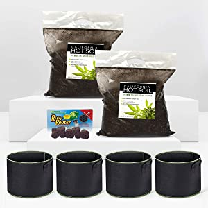California Hot Soil Premium 100% Organic Super Soil Kit, Living Soil Technology - No Need for Nutrients Ever, Includes (2) 6lb Bags of CaliHotSoil, (4) 5-Gallon Coth Pots, (5) Rapid Rooters