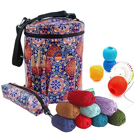 Bolsa de tejer para lana y lana, Eleoption Premium grande tejer bolsa de almacenamiento para organizar de ganchillo y hilo para tejer, crochet ...