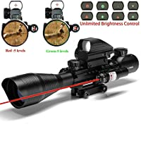 Alrebeto Rifle Scope Combo C4-16x50EG Tactical Dual Illuminated with Red Dot Sight